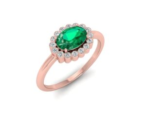 Ring with Emerald Stone and 14K Rose Gold Color